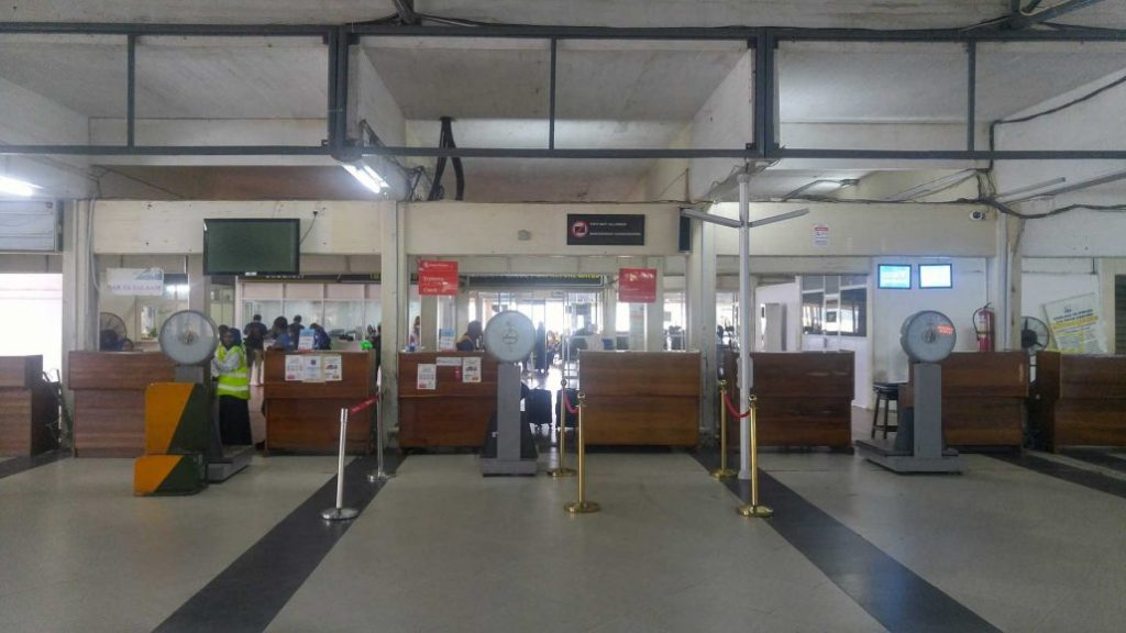 Zanzibar Airport check-in counters
